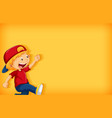 background template design with happy boy walking