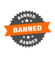 banned sign banned orange-black circular band vector image vector image