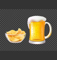 beer in mug with foam and chips in bowl for snack vector image