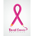 Breast cancer awareness ribbon education concept vector image vector image