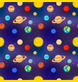 bright cartoon planets solar system on deep vector image