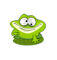 cartoon frog on a leaf vector image