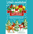 christmas and new year party invitation template vector image