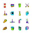 cleaning comics icons set cartoon vector image