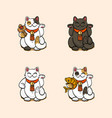 collection of four lucky cats vector image vector image