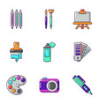 color icons set cartoon style vector image vector image