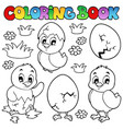 coloring book with cute chickens vector image vector image