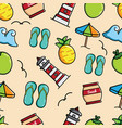 cute sea and beach seamless pattern vector image vector image