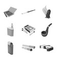 equipment and smoking vector image vector image