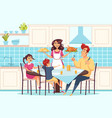 family with children sitting at dining table vector image vector image