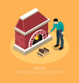 fire place isometric vector image