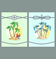 framed color with palm trees vector image