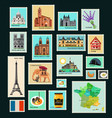 france travel stamps vector image vector image