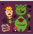 Halloween Cat in Graveyard Cartoon vector image vector image