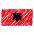 hand drawn national flag of albania isolated on a vector image