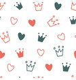 hand drawn seamless pattern with doodle crowns vector image