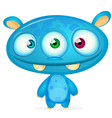 Happy cartoon blue monster vector image vector image