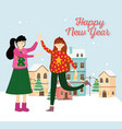 happy new year women with ugly sweater village vector image