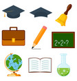 icon collection set cartoon poster school college vector image