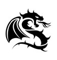 icon flying dragon black and white logo vector image
