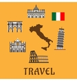 Italy flat travel symbols and icons vector image vector image