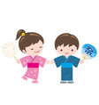 kids wearing japanese summer kimono vector image
