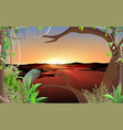 landscape jungle at river in morning vector image vector image