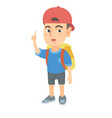 little caucasian boy pointing his forefinger up vector image vector image