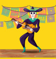 mariachi skull day of the dead party vector image vector image