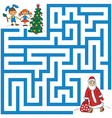 maze of Santa Claus and Christmas tree vector image