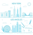 new york and los angeles skyline vector image