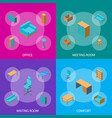 office furniture 3d banner set isometric view vector image vector image