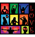 people silhouettes with hearts vector image