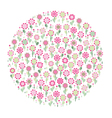 pink floral circle vector image vector image