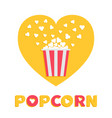 popcorn popping red yellow strip box package vector image vector image