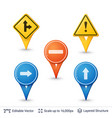 road sign pins set vector image vector image