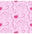 Romantic pink background with hearts and vignettes vector image
