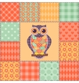 Seamless patchwork owl pattern 4 vector image