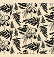 seamless pattern of olive brancheshand drawn vector image
