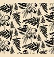 Seamless pattern olive brancheshand drawn