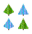 set of four pixel art christmas trees flat design vector image vector image