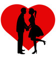 silhouette couple bride and groom vector image vector image