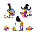 silhouettes of gardeners decorated vector image