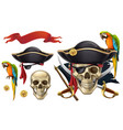skull and parrot pirate emblem 3d icon set vector image vector image