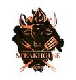 steak watercolor logo with bull head on dark vector image