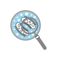 study of bacteria with magnifying glass vector image vector image