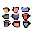 tea and coffee cup set icon logo isolated on vector image