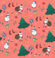 tender red christmas pattern with doodle elements vector image vector image