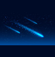 three comet in the starry space sky vector image