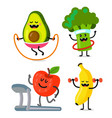 three fruits and vegetables do sport vector image